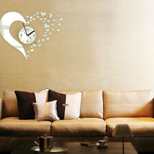 DIY Wall Art Clock Mirror Wall Sticker Home Decors - Hearts