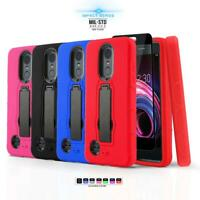 for LG FORTUNE 2, [Impact Series] Phone Case Covers Kickstand +Tempered Glass