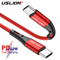 USLION Braided USB C to USB C Cable 60W PD 3A Fast Charging For Samsung Macbook