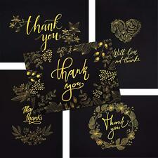 50 Thank You Cards BLACK & GOLD Note W Embossed Foil Perfect For Your Wedding Ba