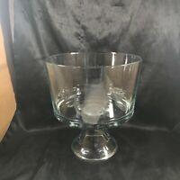 "Vintage Clear Glass Pedestal Pedestal TRUFFLE Bowl 8"" Wide"