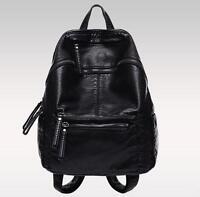 womens real leather black Backpack travel backpack messenger book shoulder Bag