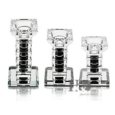 3 pcs Black Crystal Candlestick Pillar Candelabra Wedding Party Modern Design