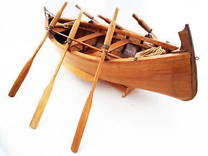 Goiter Ligure 1:12 Boat IN Oars Wood Mounted and Assembled by Hand With Header