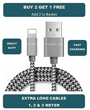 Extra Long Heavy Duty Braided Lightning Charger Cable For iPhone 5 6 7 iPad Air