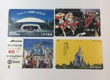 Tokyo Disneyland Vintage Phone Cards Used Lot Of 4 - (7234)
