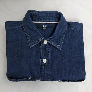 Uniqlo Denim Button Up Shirt M Dark Wash Slimmer Fit