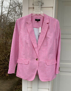 NWT Talbots Beautifully Made Pink White Checked Linen Blend Lined Blazer 20W 2X