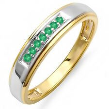 0.12 Carat (ctw) 18K Yellow Gold Plated Silver Emerald Men's Ring (Sz 11)