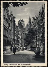 DANZIG Gdansk FRAUENGASSE mit St. Marienkirche - interessante sw-AK gel. 1943