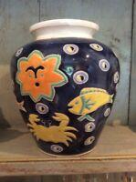 Studio Pottery Vase Fish Signed Unknown Maker Large Vase Blue Colourful Fish