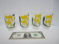 Vintage Juice Glasses - Yellow Flowers with Green leaves  Set of 4 ~ Gently Used