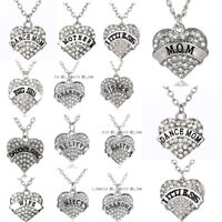 Clear Crystal Heart Family Necklace Jewelry Mom Dad Grandma Pendant Friend Gifts