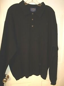 "Club Room Large 2 Ply Cashmere Polo 3-Button Pullover Sweater Black 50"" Chest"