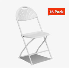 16 Fan Back Chairs White Folding Steel Frame Outdoor Indoor Patio Office Chairs