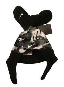 Nike Toddler Grey Camo/Black Fleece Chin Strap Hat & Mittens Set