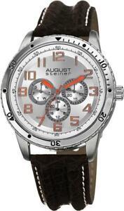 August Steiner AS8116SS Day Date GMT 30M WR Orange Accented Mens Watch