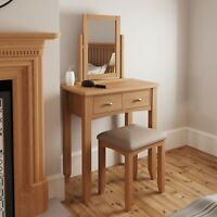 Danish Oak Dressing Table / Laptop Desk / Vanity Unit - Light Oak 2 Drawers