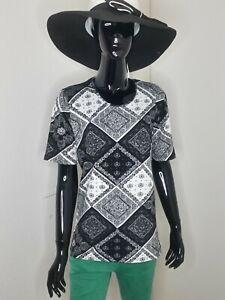 NEU, Damen T-Shirt, Kurzarmshirt, Quadrate mit Ornamente, schwarz/weiß, Größe 50