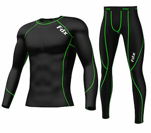 FDX Mens Compression Armour Base layer Top Skin Fit Shirt + pants, tights, set