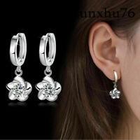 Women Stainless Steel Crystal Lady Dangle Ear Stud Hoop Earrings Jewelry Spiral
