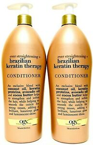 2 Bottles OGX 25.4 Oz Ever Straightening Brazilian Keratin Therapy Conditioner