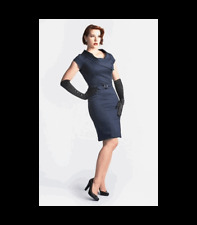 Heartbreaker Fashion Vanessa Wiggle Dress Navy S Heart of Haute Pinup Retro