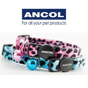 Ancol Cat Collar Soft Velvet Leopard Print Safety Buckle in Turquoise or Pink