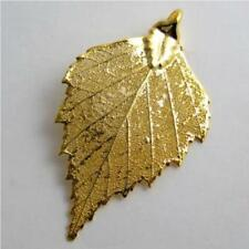 birch gold leaf pendant - real leaf jewellery includes thong and box