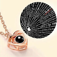 100 languages I love you Projection Pendant Necklace Women Chic Jewelry