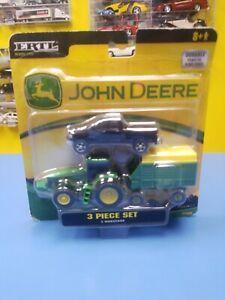 ERTL / RC2 JOHN DEERE TRACTOR EQUIPMENT  AND RAM 1500 PICKUP THREE PIECE SET NEW