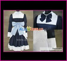 Axis Powers Hetalia Cosplay Belarus Natasha Anime Costume  Dark Blue Maid Dress