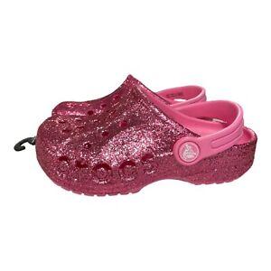 Crocs Baya Glitter Clogs Slip on Sandals Petal Pink Kids Youth Size J1