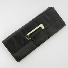 CL Chinese Laundry Clutch Black Magnetic Snap Flap Chain Strap Purse Handbag Bag