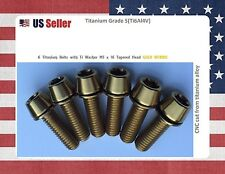 M5 x 16mm Titanium Bolt Taper Head / Ti Bolt 6 pcs - GOLD Nitride GR5 for stems