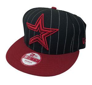 Houston Astros MLB New Era 9FIFTY Pinstripe Snapback Cap (Black/Red) NWT Sz S/M