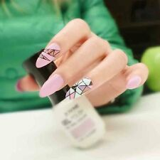Nail Art 24pcs Long False Nails Stiletto Nail Tips Magic Geometric for fair lady