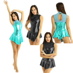 Women Adult Figure Skating Leotard Dress Shiny Metallic Ballet Dance Gymnastics