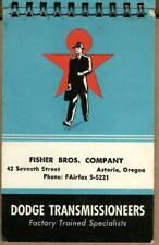 1958 memo book DODGE Power Transmission Co, Mishawaka Fisher Brothers Astoria OR