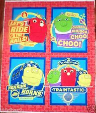 CHUGGINGTON FABRIC TRAIN PILLOW PANELS 4 PILLOWS or QUILT TOP fabric NEW!
