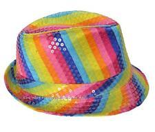 Disco Mardi Gras 80s 70s Party Dance Costume Fedora Trilby Hat Sequin Rainbow