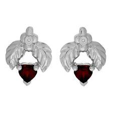 Garnet Double Leaf Earrings Diamond Accents 925 Sterling Silver 1.83 ctw New ss