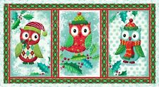 "Fabric Owl Be Home for Christmas Panel on Cotton 24""x44"" BIN"