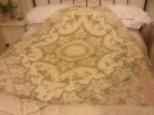 More details for vintage madeira linen tablecloth with extensive  hand embroidery