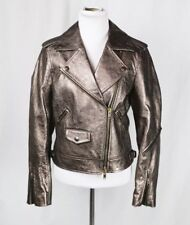 COACH $995 Metallic sheepskin leather moto biker motorcycle jacket Sz Small NWOT