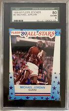 1989-90 FLEER STICKER #3 MICHAEL JORDAN SGC 80 EX/NM 6