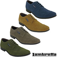 Lambretta Classic Brogue Shoes Formal Smart Suede Leather Work Office Lace