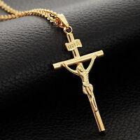 Women/Men 18K Gold Plated INRI Crucifix Jesus Cross Pendant Necklace Jewelry