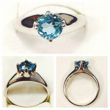 Solitäre Echte Edelstein-Ringe aus Sterlingsilber mit Blautopas für Damen