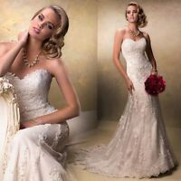 2014 NEW Ivory/white Long Tulle Strapless Applique Mermaid/Trumpet Bridal Gown